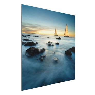 Quadro in alluminio - Sailboats in the Ocean
