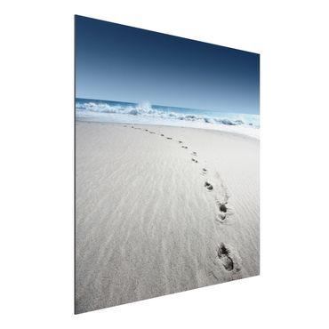 Quadro in alluminio - Footprints in the sand