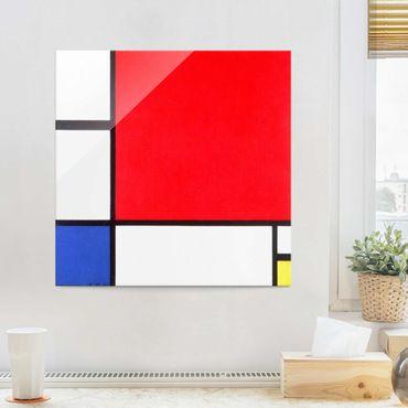 Quadro in vetro - Piet Mondrian - Composizione Rosso Blu Giallo - Quadrato 1:1