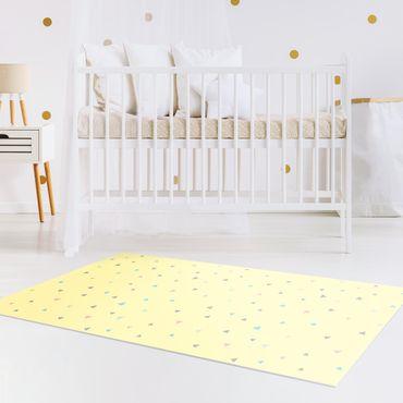 Tappeti in vinile - Triangoli disegnati in pastelli colorati su giallo - Verticale 1:2