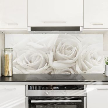 Paraschizzi in vetro - White Roses - Panoramico