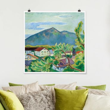Poster - August Macke - Paesaggio primaverile a Tegernsee - Quadrato 1:1