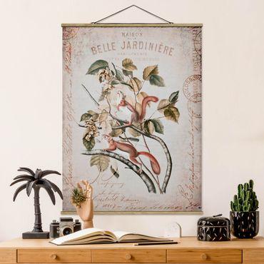 Foto su tessuto da parete con bastone - Shabby Chic Collage - Scoiattolo - Verticale 4:3