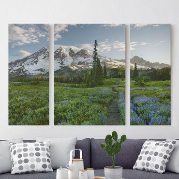 Stampa su tela 3 parti - Mountain View Meadow Path - Trittico
