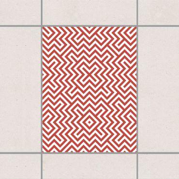 Fliesenaufkleber - Rotes Geometrisches Streifenmuster
