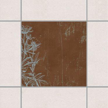 Adesivo per piastrelle - Blue flowers drawing 25cm x 20cm