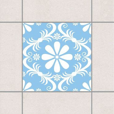 Adesivo per piastrelle - Flower Design Light Blue 25cm x 20cm