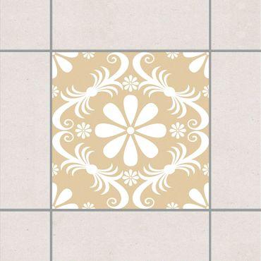 Adesivo per piastrelle - Floral Light Brown 25cm x 20cm