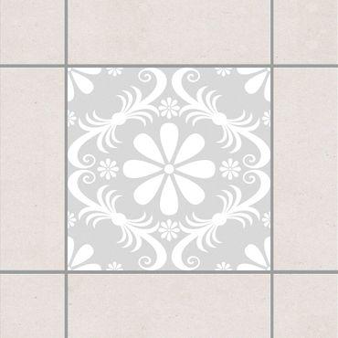 Adesivo per piastrelle - Flower Design Light Grey 25cm x 20cm