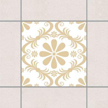 Adesivo per piastrelle - Flower Design White Light Brown 25cm x 20cm