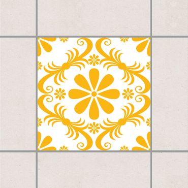Adesivo per piastrelle - White Floral Melon Yellow 25cm x 20cm