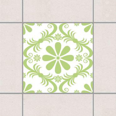 Adesivo per piastrelle - Flower Design White Spring Green 20cm x 20cm