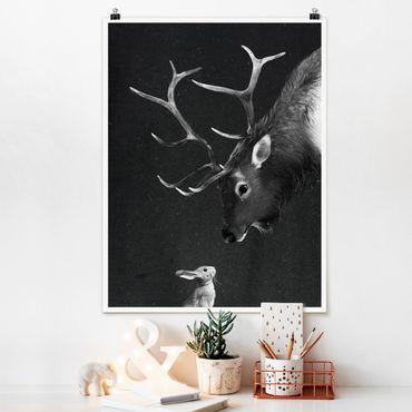 Poster - Illustrazione Cervi E coniglio pittura Bianco e nero - Verticale 4:3