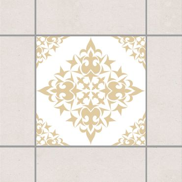 Adesivo per piastrelle - Tile Pattern White Light Brown 10cm x 10cm