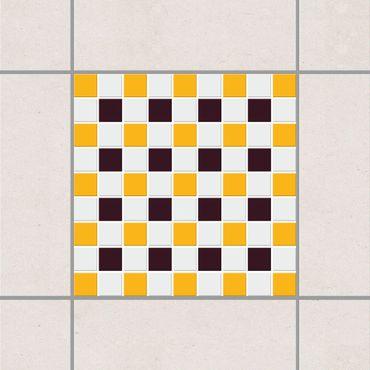 Adesivo per piastrelle - Mosaic Tiles Aubergine Melon Yellow 15cm x 15cm