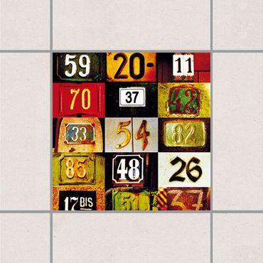 Adesivo per piastrelle - Numbers 25cm x 20cm