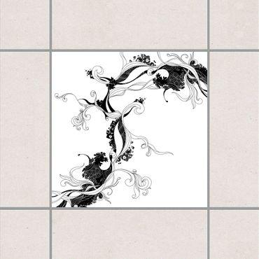 Adesivo per piastrelle - Tendril in ink 25cm x 20cm