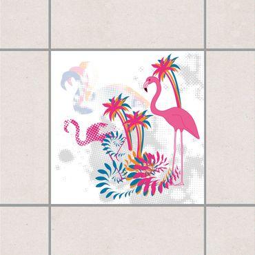 Adesivo per piastrelle - Dance of the Flamingos 25cm x 20cm