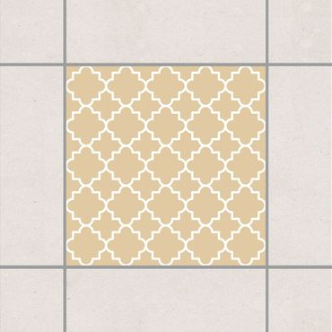 Adesivo per piastrelle - Traditional Quatrefoil Light Brown 25cm x 20cm
