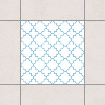 Adesivo per piastrelle - Traditional Quatrefoil White Light Blue 25cm x 20cm