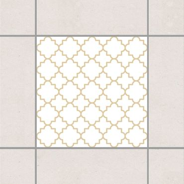 Adesivo per piastrelle - Traditional Quatrefoil White Light Brown 25cm x 20cm