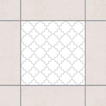 Adesivo per piastrelle - Traditional Quatrefoil White Light Grey 25cm x 20cm