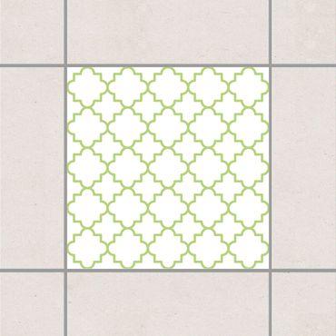 Adesivo per piastrelle - Traditional Quatrefoil White Spring Green 25cm x 20cm