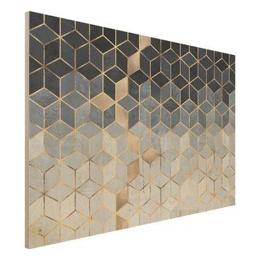 Stampa su legno - Bianco d'oro Geometria Blu - Orizzontale 2:3