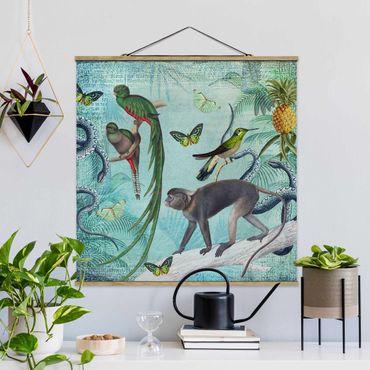 Foto su tessuto da parete con bastone - Coloniale Collage - Scimmie e uccelli del paradiso - Quadrato 1:1