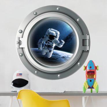 Adesivo murale - 3D Porthole - astronauta nello spazio