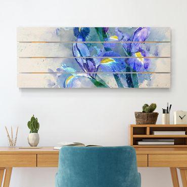 Stampa su legno - Acquerello fiori dell'iride - Orizzontale 2:5