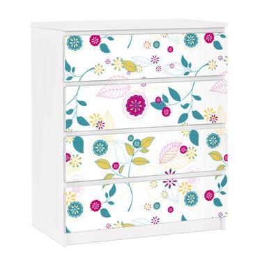 Carta adesiva per mobili IKEA - Malm Cassettiera 4xCassetti - Flowers cocktail