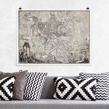 Poster - Vintage Mappa Roma - Orizzontale 3:4