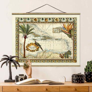 Foto su tessuto da parete con bastone - Vintage Tropical Mappa West Indies - Orizzontale 3:4
