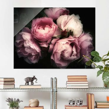 Quadro in vetro - Peony In The Dark Shabby - Orizzontale 3:4