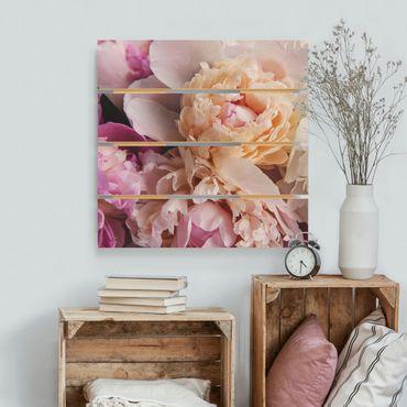 Stampa su legno - Blooming Peony - Quadrato 1:1