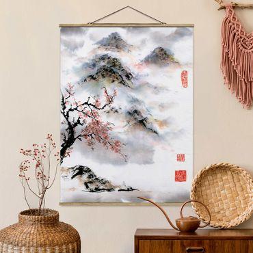 Foto su tessuto da parete con bastone - Giapponese disegno ad acquerello Ciliegio E Montagne - Verticale 4:3