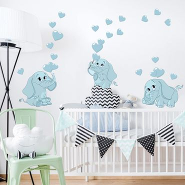 Adesivo murale bambini - Tre elefantini blu con cuori