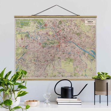 Foto su tessuto da parete con bastone - Vintage Mappa Berlino - Orizzontale 3:4