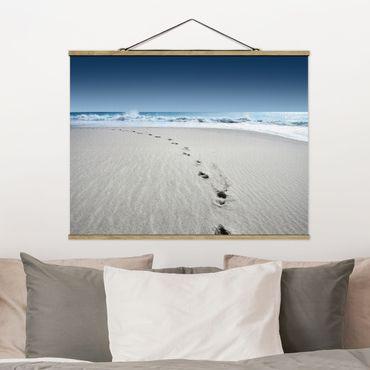 Foto su tessuto da parete con bastone - Tracce nella sabbia - Orizzontale 3:4