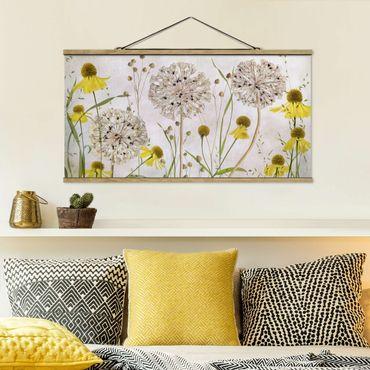 Foto su tessuto da parete con bastone - Allium E Helenium Illustrazione - Orizzontale 1:2