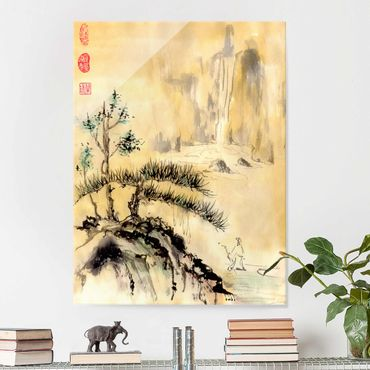 Quadro in vetro - Giapponesi Acquerello cedri e Monti - Verticale 4:3