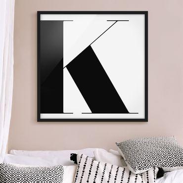 Poster con cornice - Antiqua Letter K - Quadrato 1:1