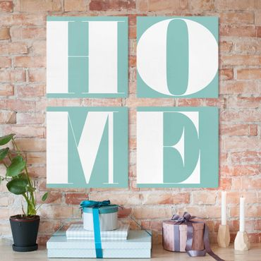 Stampa su tela - Antiqua Letter Home Turquoise - 4 parti