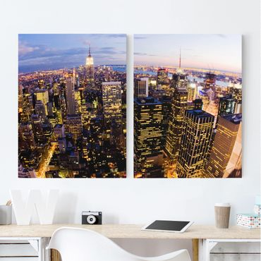 Stampa su tela 2 parti - New York Skyline At Night - Verticale 4:3