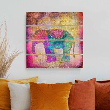 Stampa su legno - Colorato collage - Elefante indiano - Quadrato 1:1