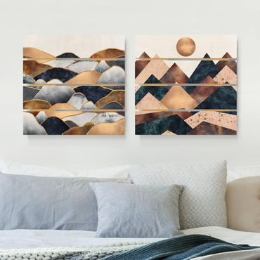 Quadro in legno effetto pallet - Elisabeth Fredriksson - Geometrico & Oro Monti Acquerello - Quadrato 1:1