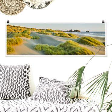 Poster - Dune ed erbe Al Mare - Panorama formato orizzontale