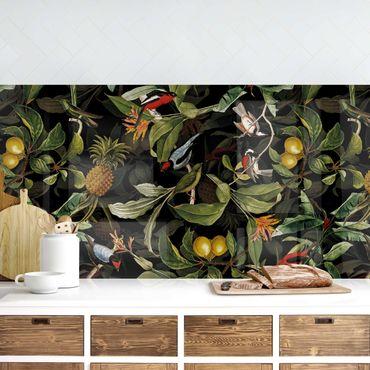 Rivestimento cucina - Uccelli con ananas verde