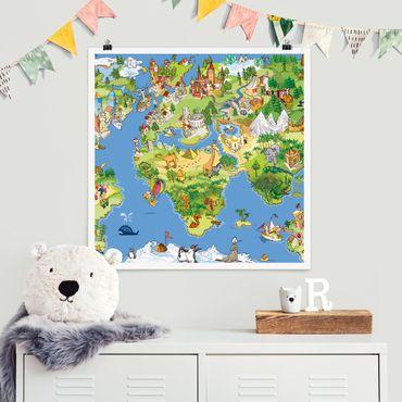 Poster - Grande e divertente Il mappamondo - Quadrato 1:1